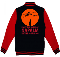 I LOVE NAPALM IN THE MORNING VARSITY - INSPIRED BY APOCALYPSE NOW MARLON BRANDO MARTIN SHEEN